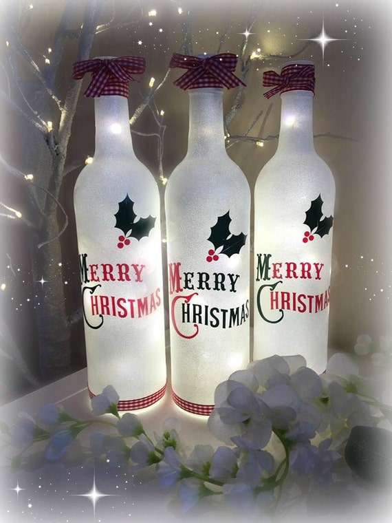 Christmas decorative Light up bottle, Inscribed with Merry Christmas design, unique gift