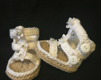 Crocheted baby shoe/ baby shoe/ sandals/ baby sandal/ flipflop/ baby flipflop