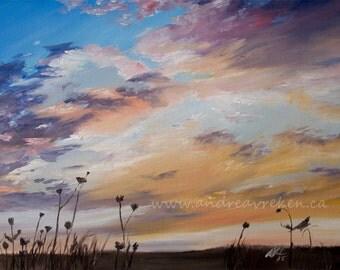 Sunset Sky Landscape Original Oil Painting on Canvas, 16x20 inch, Art Set Wall Home Decor, by Canadian Artist Andrea Vreken