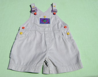 vintage gymboree boys bib shortall romper size 6-12 months size infant see measurements tan/beige with desert reptiles designs