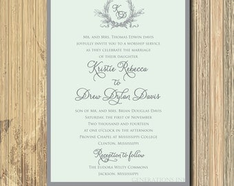 Gorgeous Mint Green & Gray Wedding Invitation with Laurel Wreath / DIGITAL FILE / printable/wording and colors can be changed