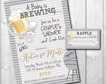 Couples Baby Shower Invitation printable/Digital File/Baby is Brewing, Coed Shower, Gender Neutral, Bun in Oven/Wording can be changed
