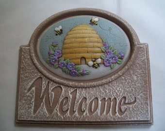 Ceramic sign Bee Hive,Easter, apple,hunting,pheasant,wine,Welcome Sign