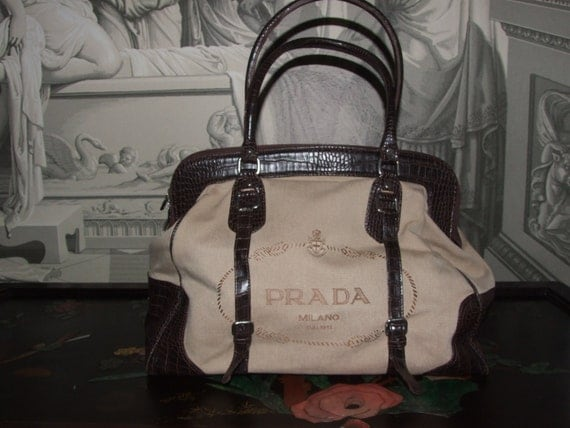 prada nylon handbags black - PRADA MILANO DAL 1913 Large Hand Bag Shoulder Bag / by MAChic
