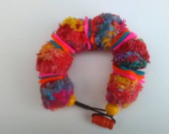 Unique Rainbow Coloured Hand Knitted Bead Bracelet