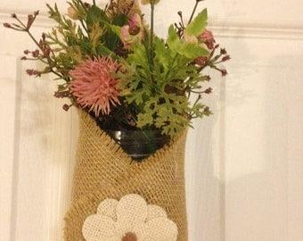 Burlap and lace hanging holder with mason jar!
