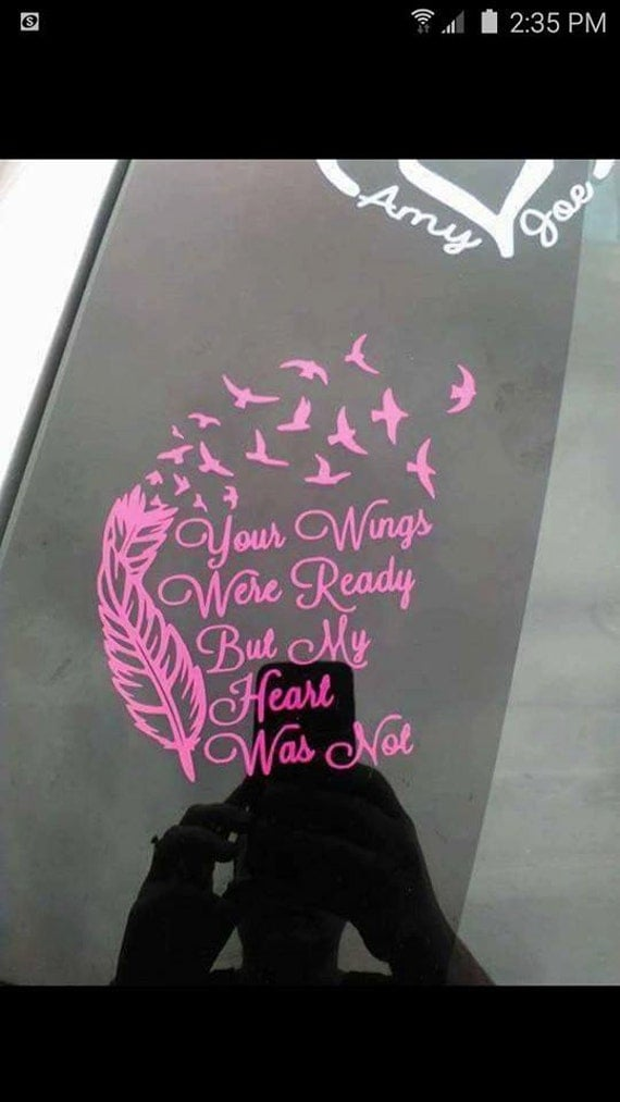Your wings were ready decal by decalsbytiffany on etsy for Your wings were ready but my heart was not tattoo