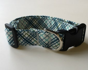 Blue and Green Plaid Print Dog Collar