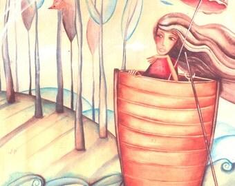 Female illustration on boat
