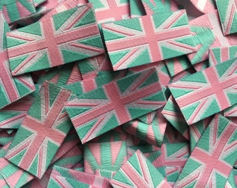 Baby Pink Union Jack Flag Woven Label Clothing Garment Labels 20mm Loop folded labels for clothes or Accessories