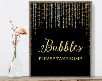 Bubbles Sign DIY / Please Take Some / Gold Wedding Sign / Great Gatsby, Bokeh Light / Black and Gold Calligraphy ▷Instant Download JPEG