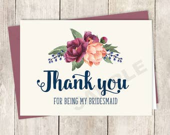 Thank You... Bridesmaid Card DIY Printable / Burgundy Peony Berry Bouquet, Peach Blush Pink Ranunculus, Fall Wedding ▷ Instant Download PDF