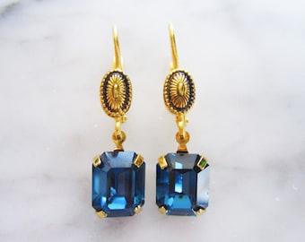 Handmade Saphire Blue Swarovski Crystal Gold Plated Earrings