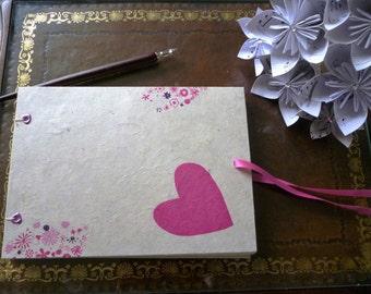 SALE! Wedding guest book, shabby chic pink heart hand bound journal, guestbook, sketchbook, A5 blank book