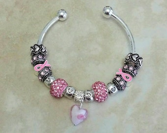 Pink Ribbon Glass Heart Czech Rhinestone Antique Charms Silver Plated Bangle 7.5 Inches