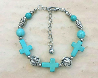 Turquoise Cross Charm Antique Silver Plated Bracelet 8 Inches Adjustable