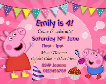 Printed Personalised Peppa Pig Birthday Party Invitations x10