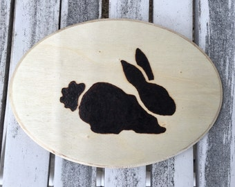 Wood Burned Bunny, wall art, wall hanging, kids room, Easter, easter decoration,bunny art, rabbit picture, bunny drawing, bunny picture
