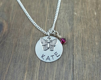 Butterfly Necklace - Handstamped Personalized Little Girl Necklace - Birthday Gift - Birthstone necklace - Butterfly Necklace
