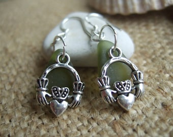 Scottish sea glass earrings with Claddagh, green, sea foam or white sea glass paired with the symbol of love and friendship, Scottish gift
