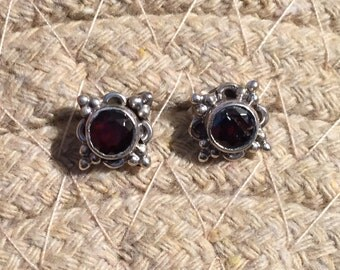 Garnet Studs...Sterling Silver Studs...Handmade Vintage Earrings...Ethnic...Hippy...Gypsy...Vintage Shop...LV110