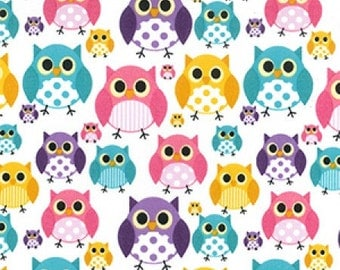 Owl Print Poly Cotton Fabric - By the metre