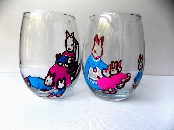 peter rabbit rabbit wine glasses bunny wine glasses summertime. Black Bedroom Furniture Sets. Home Design Ideas