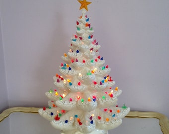 Vintage White Ceramic Christmas Tree Etsy