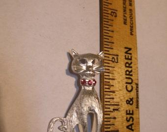 Silver Tone Cat Figural(314)
