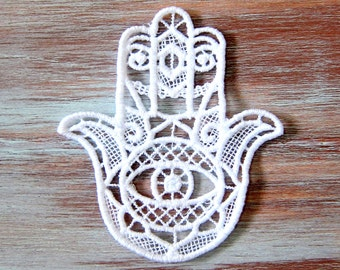 White Embroidered Evil Eye Ornament-Hamsa Lace Medallion-White Lace Hamsa