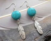 Turquoise Silver Feather Earrings Tribal Earrings Boho Feather Earrings Gemstone Earrings Native American Inspired Southwestern Style