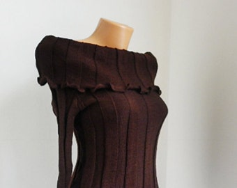 Chocolate Vintage elegant lady blouse, bare shoulders sweater, Inspired Vivienne Westwood, soft brown sweater, knitted womens clothing