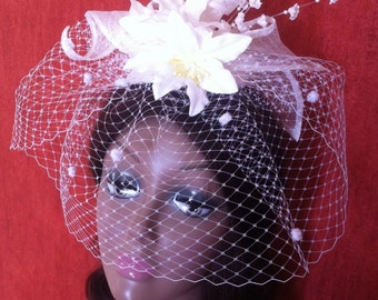 Deluxe bridal birdcage veil,wedding veils ,weddings accessories,bridal hair accessories,bridal hats and veils