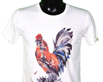 ROOSTER - - arty - graphic tee unisex men and women color white / / unisex rooster t-shirt / / gl boutik