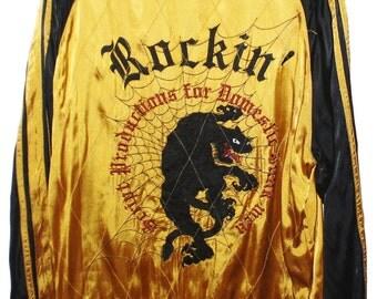 Vintage Japanese SCRIPT Tiger Spiderweb Rockin Punk Rock Rockabilly Japan Souvenir Sukajan  Rayon Reversible Jacket