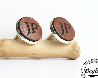 Leather Anniversary for Him, Leather Anniversary Gift for Him, Leather Anniversary Gift for Man 9th Anniversary, Cuff Links, Mens Gift