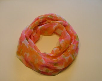 Lightweight,  orange and pink flowered infinity scarf