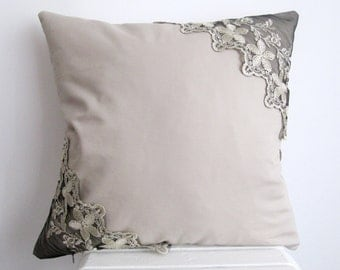 Cotton Pillow Cover  Lace Pillow Case Decorative pillow Case Lace Throw Pillow Cover Beige Cushion Cover  Sofa Pillow case 18'' x 18''