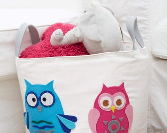Toy storage basket/ laundry hamper with cute owls