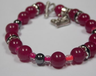Beaded bracelet,hand made w/ Ruby red beads