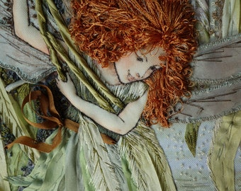 Embroidered picture based on the picture Cicely Mary Barker, embroidery silk ribbons