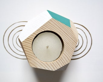 Handmade wooden candle-holders