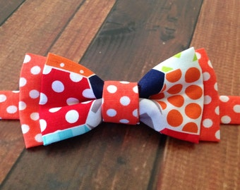 Toddler Boy Bow Tie - Baby Boy Bow Tie - Youth Boys Bow Tie - Fun and Colorful Polka Dot and Hexagonal Print Bow Tie - Adjustable Neck Strap