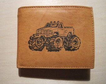 "Mankind Wallets Men's Leather RFID Blocking Billfold w/ ""Monster Truck 4WD 4x4"" Image~Makes a Great Gift!"