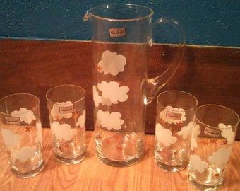 Crystalex bohemia dreams clouds & stars pitcher and glasses