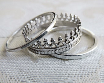 Sterling Silver Crown Ring Set - Set of 3 Rings - Stacking Ring Set - Princess Rings - Wide Ring Set - Hammered Silver Rings - Gaia's Candy