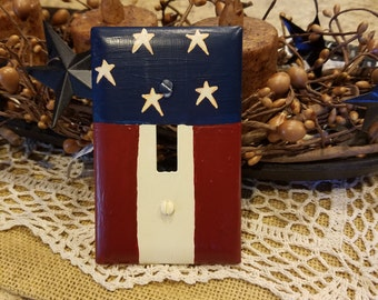 Lot of 5 primitive red white blue light switch Barn star covers