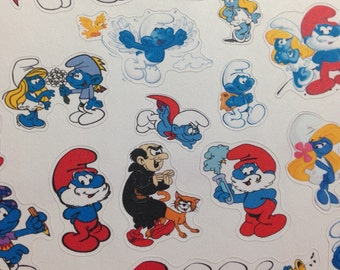 Smurf sticker sheet -  for your EC, plum paper, filofax, happy planner