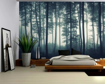 Landscape Mural of a Misty Forest- Wall Mural, Removable Sticker- 100x144 inches