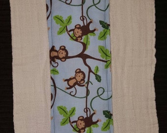 Cute monkey print burp cloth